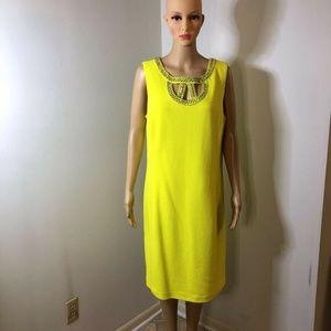 Peter Nygard Womens Shift Dress Yellow Beaded Jewe